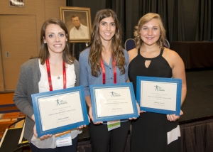 Renee Fernandes/NATA Holly Nieman, left; Elena Keretses and Whitney Correll are recipients of scholarships sponsored by PBATS.